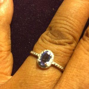 Ring 2/5 Carat Tanzanite & Diamond Sterling Silver